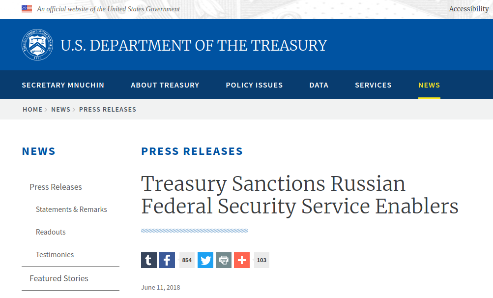 Treasury Sanctions Russian Federal Security Service Enablers