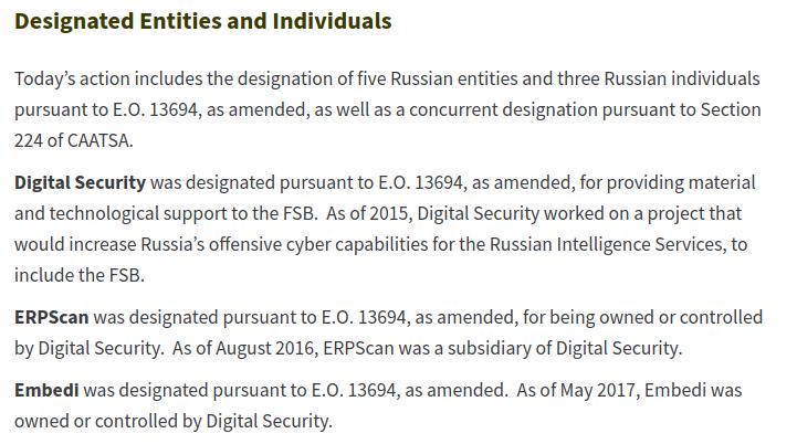 Designated Entities and Individuals
