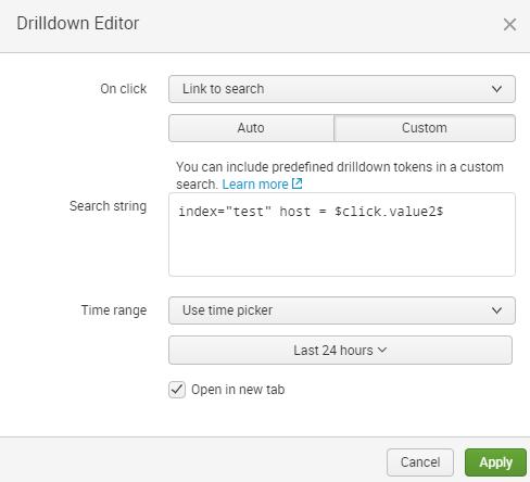 Drilldown editor