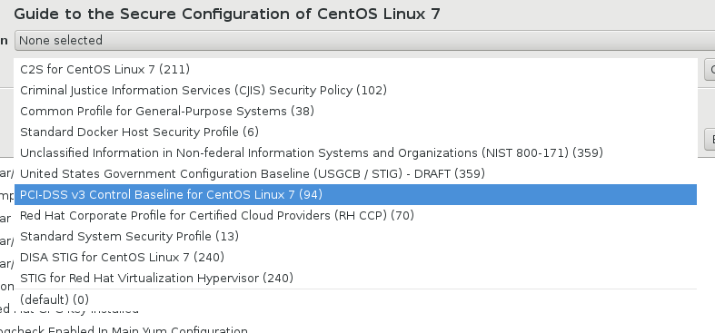 SCAP Workbench CentOS7 standards
