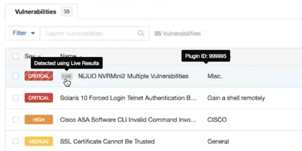 Nessus 8 live results in the list of vulnerabilities