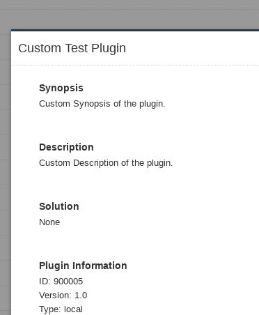 Text description of the TEST custom Nessus NASL plugin