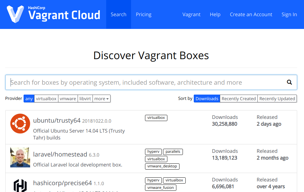 Discovering Vagrant Boxes