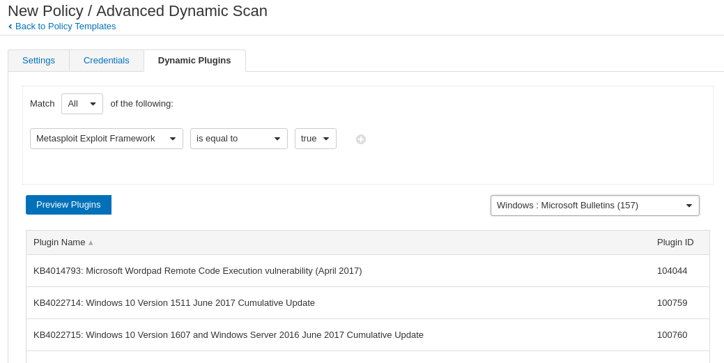 New Advanced Dynamic Scan Policy Template in Nessus 8
