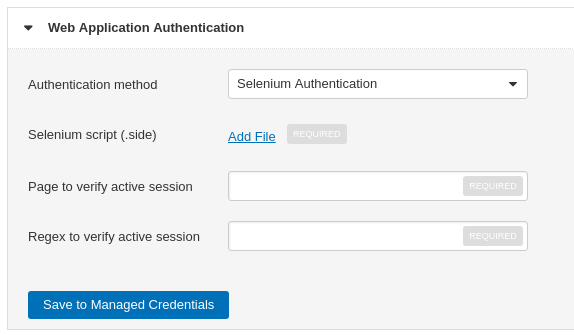 Tenable IO WAS Web Application Authentication Selenium