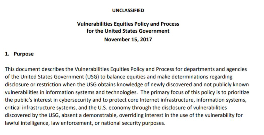 Vulnerabilities Equities Policy and Process for the United States Government