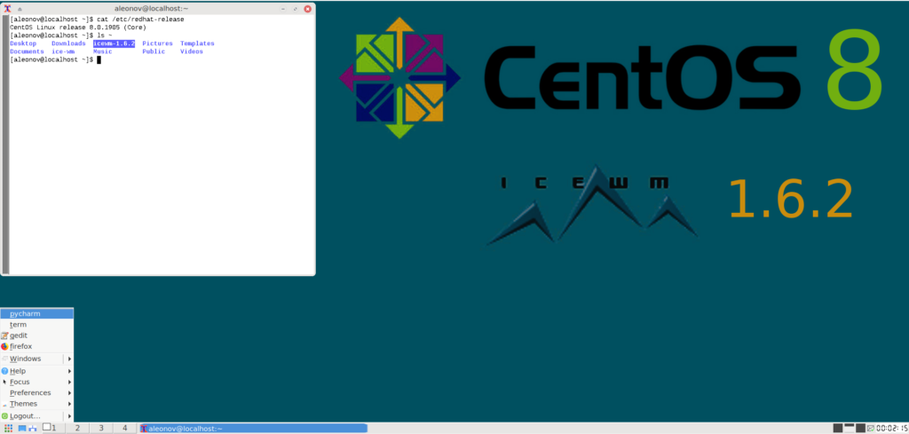 CentOS 8 with IceWM desktop environment
