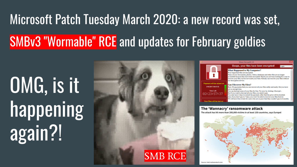"Microsoft Patch Tuesday for March 2020: a new record was set, SMBv3  ""Wormable"" RCE and updates for February goldies"