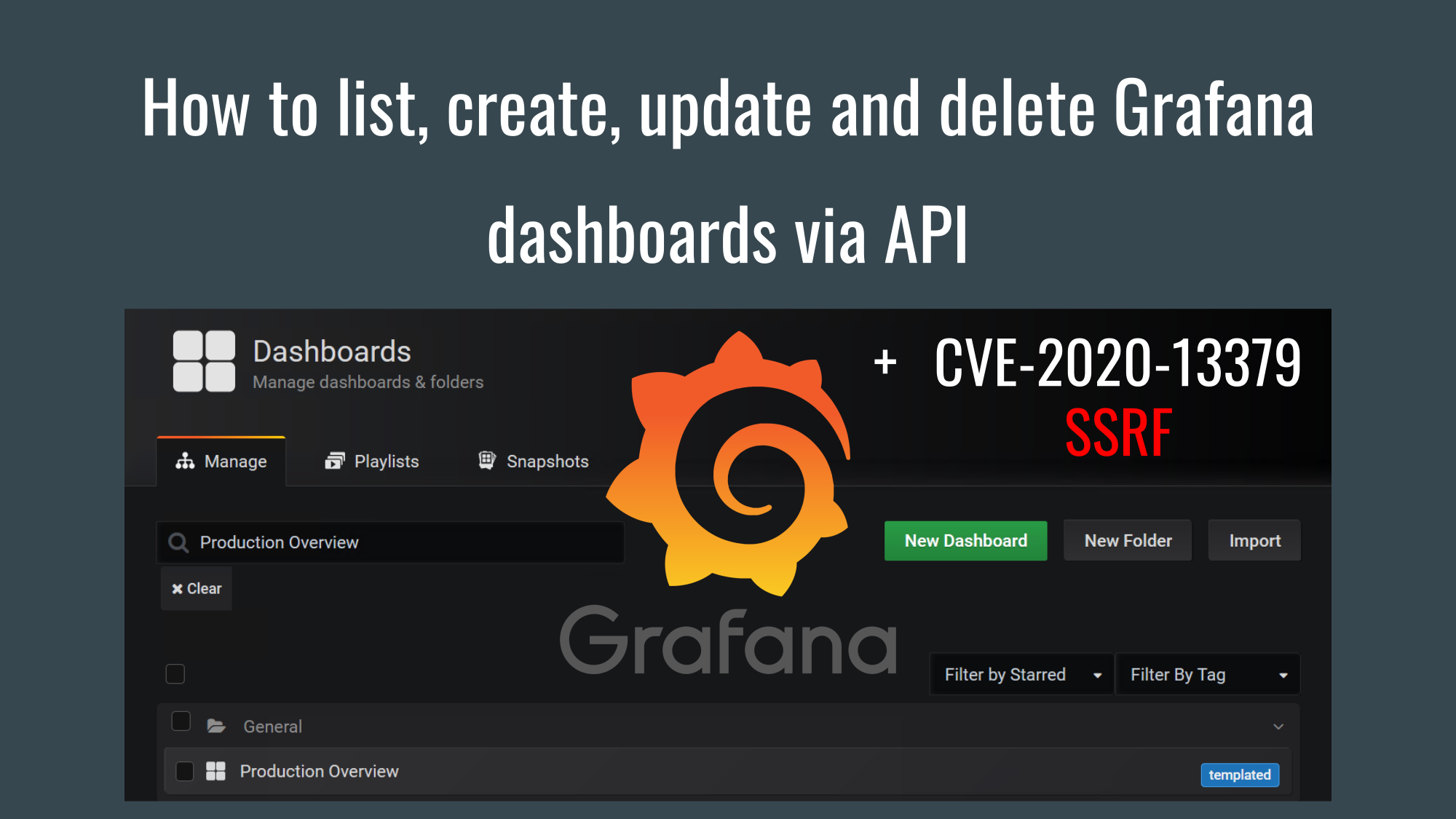 How to list, create, update and delete Grafana dashboards via API