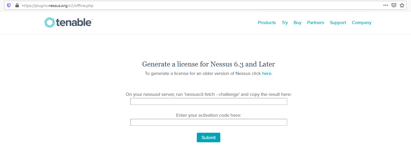 Generate a license for Nessus