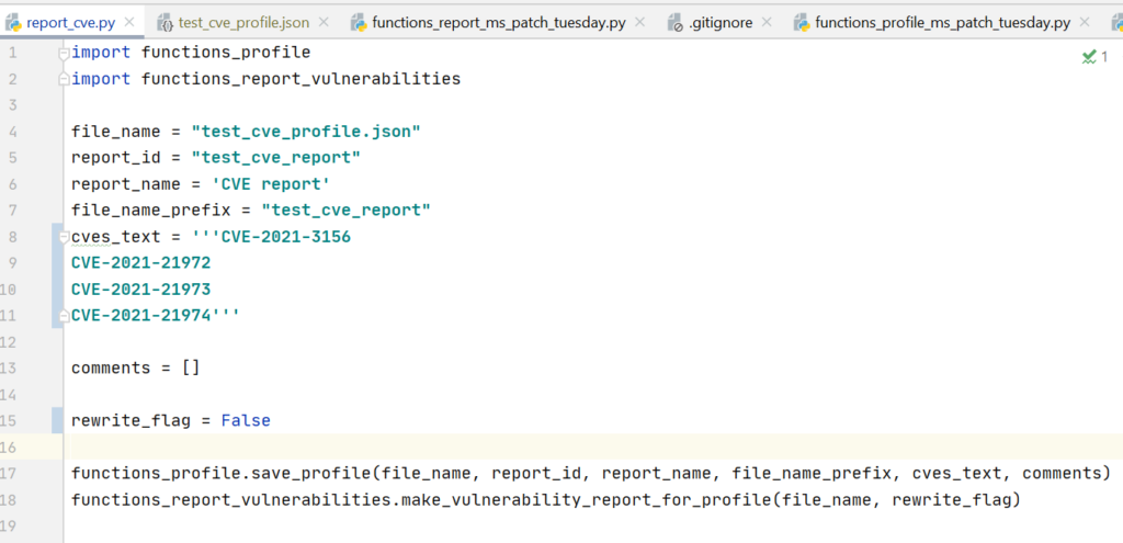 You can easily create a profile and generate a report for any CVE set